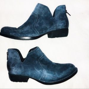 Born 6.5 medium leather blue suede ankle booties